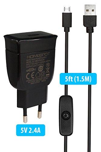 Home Spot 2.4A Fuente de alimentación y 1.5m micro usb cable con