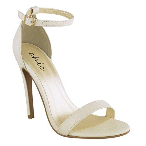 Damen hoher Stiletto Absatz kaum There Riemchen Knöchelriemen Party Sandalen Schuhe Größe weiß Lizard Kunstleder
