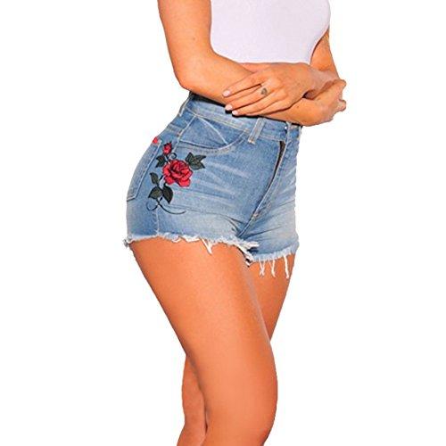Aelegant Damen Vintage Denim Loch Kurz Jeans Hot Pants High Waist Jeans Shorts Unregelmäßigen Schneiden Denim Shorts mit Stickerei Rose Blau