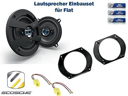 Fiat Brava (182) Lautsprecher Einbauset (Türe Front) inkl. Scosche HD5254 130mm 3 Wege Triaxial Lautsprecher 200Watt Scosche Audio