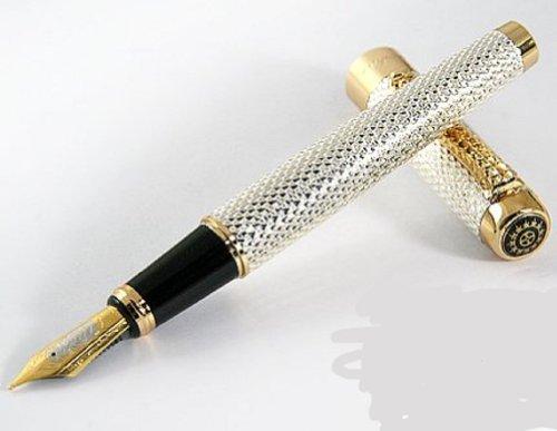 Jinhao dragón de oro cristal rojo pluma fuente con ojos empuje convertidor tinta del estilo