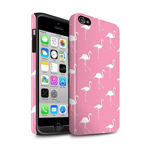 Stuff4® Glanz Harten Stoßfest Hülle/Case für Apple iPhone 4/4S / Rosa Weiße Collage Muster/Netter Flamingo Karikatur Kollektion (Rosa Gehäuse Für Iphone 4s)