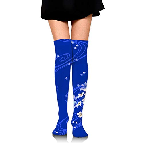 dfegyfr Royal Blue Flowers Background Women's Knee High Socks Fancy Design, Best For Running, Athletic Sports,Yoga.