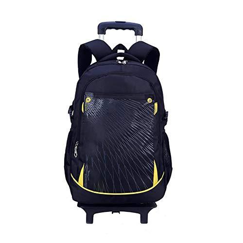 CDKJ Scuola elementare di Rolling Backpack prescolare Trolley Book Bag Ruote Studenti Zaino Giornaliero per Ragazzi Ragazze 3 Ruote (Nero) Kinderrucksack