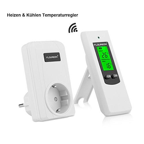 FLOUREON Funkthermostat mit Zwischenstecker Heizkörperthermostat Thermoschalter Heizkörperregler Heizungssteuerung Set für Heiz- / Kühlgeräte