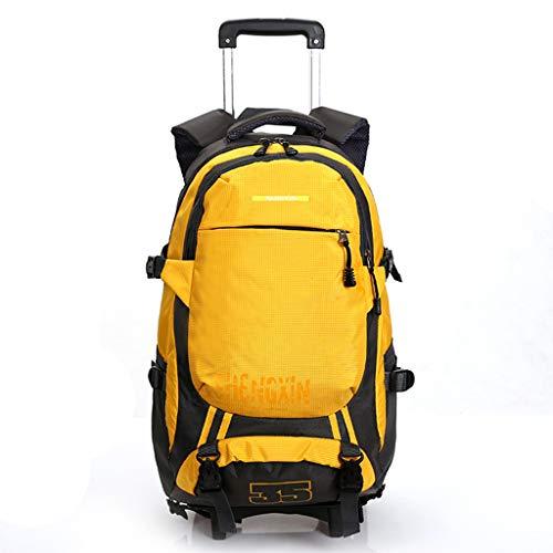 Rucksäcke mit Rollen Geschäftsreisender 19-Zoll Laptop-Rucksack Große Kapazität Handgepäck-Tasche Abnehmbare Trolley-Tasche für Schulsportler,Yellow