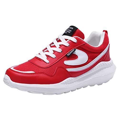 CUTUDE Herren Laufschuhe Atmungsaktiv Turnschuhe Schnürer Walking Jogging Laufen Sneaker Frühling Sommer (Rot, 42 EU)