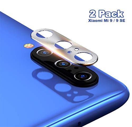 NOKOER Protector de Lente de Cámara para Xiaomi Mi 9 SE, [2 Pack] Anillo Protector Metálico para la Cámara [Compatible con Funda] Anti-Arañazos Anti-Caídas - Plata