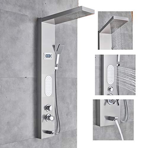 SUGU Thermostatisch Wasserfall Regendusche Duschpaneel Duschset Edelstahl Massagendüsen 4 in 1 Multifunktion Duschsystem