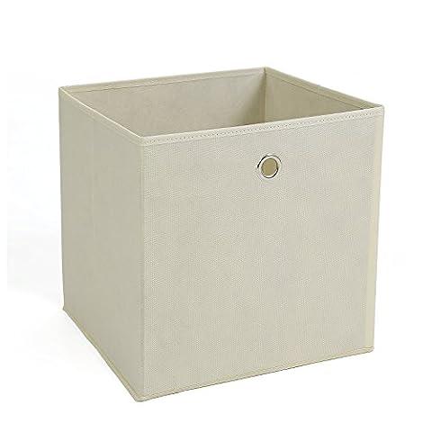 Songmics lot de 6 Boîtes/Tiroirs en Tissu Cube de Rangement pliable coffre pour Linge, Jouets, Vêtement 30 x 30 x 30 cm Beige RFB02M-3