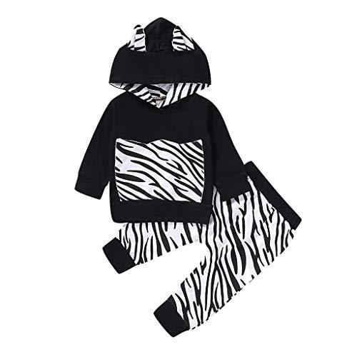 Zhen+ Baby Unisex Bekleidungsset für 0-3 Jahre Neugeboren Mädchen Junge Warm Hoodie Shirt Top + Hose Outfits Set Baumwolle Kleidung Set mit Zebra Streifen Druck -