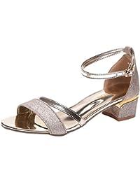 Bellelove Femmes Pompes Femmes Sandales Paillettes Loisir Banquet Mode  Cheville Mi Heel Bloc Parti Ouvert Chaussures db0c82c6760e