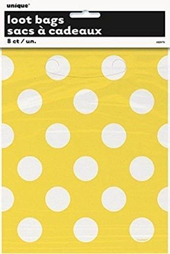 d Fast Polka Dots 8Party-Plastiktaschen Spots Spotty Geburtstag Süßigkeiten Goody Toys gelb (Baby Dusche Süßigkeiten Halter)