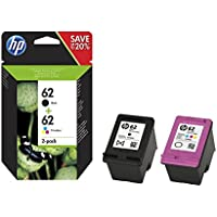 HP 62 - Pack de ahorro de 2 cartuchos de tinta Original HP 62 Negro, Tricolor para HP OfficeJet 5740 HP ENVY 5540, 5640, 7640