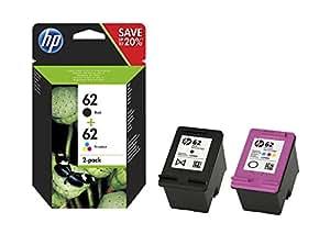 HP 62 (N9J71AE) Pack de 2 Cartouches Authentiques d'Encre Trois Couleurs Noire