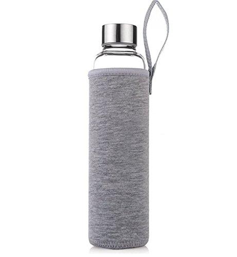 HMILDYDYK Transparente Wasserflasche aus Glas, auslaufsicher, mit Nylonhülle, GUGLASSBOT-grey-550tea, 550ml tea infuser (Glas Milch Flaschenverschlüsse)