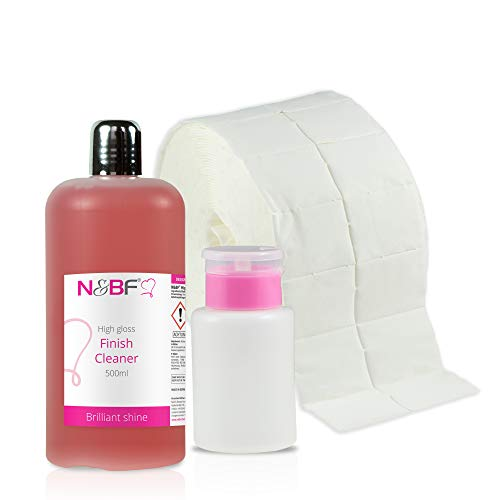 N&BF High Gloss Finish Nagel Cleaner mit Duft 500ml + Dispenser(Rosa)+1000 Zelletten Pads (2 Rollen à 500 St.) Isopropanol-Alkohol & pflegenden Öle - für Gelnägel Nail-Cleaner (Kirsche) -