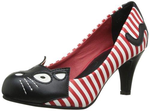 T.U.K. - Scarpe col tacco Character Anti Pop Heel, Donna, Bianco (Blanc (White/Red Stripe Black Kitty)), 37