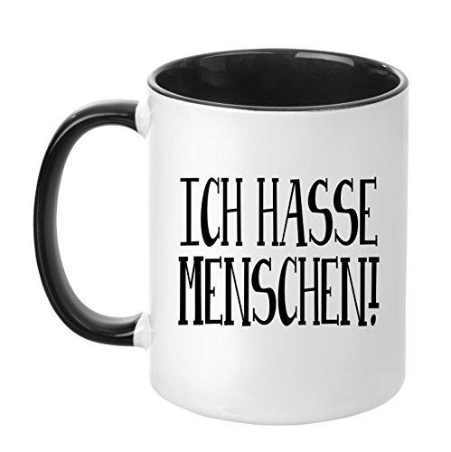 TassenTicker - ''Ich hasse Menschen.'' - Geschenk Tasse - hochwertige Qualität - Kaffee - Arbeit (Schwarz)
