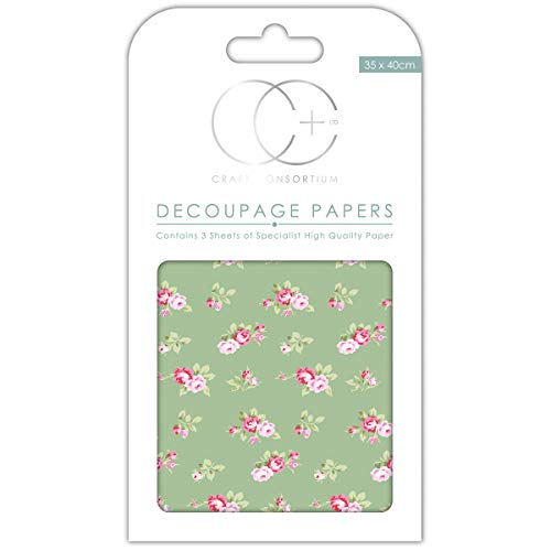 """Craft Consortium Decoupage Papers 13.75""""X15.75"""" 3/Pkg-Tossed Roses Green"""