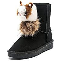 Wuyulunbi@ Women'S Shoes Winter Snow Boots Boots Flat Heel Round Toe For Casual Brown Gray Black