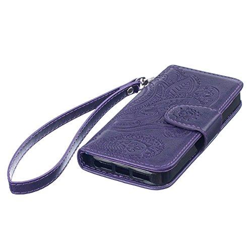 PU Cuir Case iPhone 6 Plus 6S Plus Mandala Fleurs Rétro Style Coque, Sunroyal Premium Embossed PU Leather Soft TPU Inner Housse Absorption de Choc et Anti-Scratch Téléphone Coque de Protection Rabat F Violet
