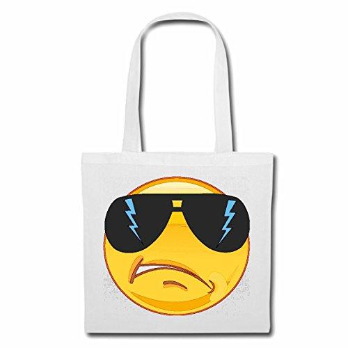 Tasche Umhängetasche Cooler Smiley MIT GROSSER Sonnenbrille Smileys Smilies Android iPhone Emoticons IOS GRINSE Gesicht Emoticon APP Einkaufstasche Schulbeutel Turnbeutel in Weiß