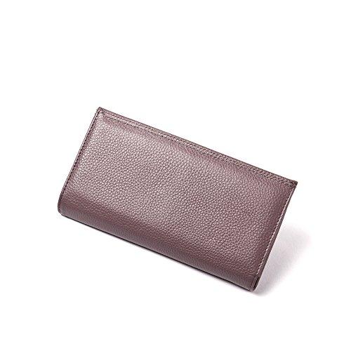 Yvonnelee Donne Della Signora Frizione Lungo Della Borse Borsa cuoio genuino Della Carta Portafoglio Leather Titolare Porpora