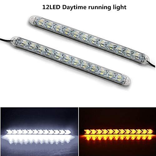 LanLan Phares Moto 2pcs Voiture DRL Switchback LED lumière de Bande Phare Arrowhead Clignotant Clignotant Lampe étanche White Light + Yellow Light