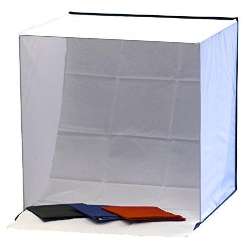 Phot-R P-PLT60 60 cm Professionelle Fotografie Mobile Fotostudio Lichtwürfel Zelt Softbox mit 4 farbige Hintergründe (schwarz/blau/rot/weiß) und Tragetasche schwarz