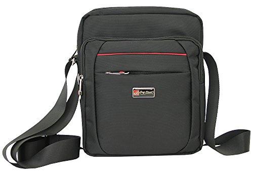 Herren Schultertasche klein bis mittelgroße Umhängetasche für Männer crossover Messenger Bag Nylon-Tasche schwarze Handtasche (2364)