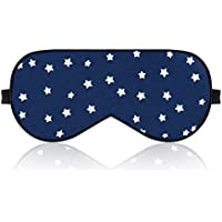 lonfrote ajustable estrellas seda dormir máscara de ojo máscara de dormir con tapones para los oídos y bolsa de transporte, ligero y cómodo y ajustable, Super suave material para hombres y mujeres viajes, pan, cambio funciona