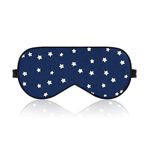 LONFROTE Sterne Seide Schlaf Augenmaske Schlafmaske mit Ohrstöpsel und Tragetasche, Leicht & Bequem und Verstellbar, Super Weiches Material für Herren und Frauen Reisen Funktioniert Schlafbrille