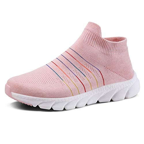 Frauen Trainer Ineinander greifen Breathable beiläufige Schuhe Beleg auf Müßiggänger Ebenen Hellen Abnutzungs beständigen Socken Turnschuhen -