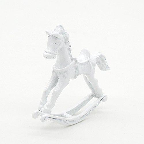 Odoria 1/12 Miniatur Schaukelpferd - Weiß Metall und Feengarten Deko Puppenhaus Zubehör Für Fee Garten