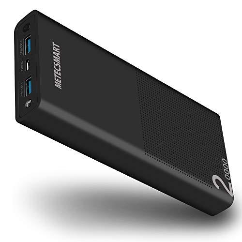 20.000mAh Powerbank mobiles Ladegerät Schnellladung QC3.0 18W Power Bank Externe Akkupacks für Mobiltelefone Smartphones kompatibel mit iPhone X/8/7/6, iPad, Samsung S7/S8/S9/Plus, MacBook, Schwarz