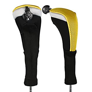 Andux 2pcs/Pack Long Neck Golf Hybrid Club Head Covers with Interchangeable No. Tag CTMT-02 (Yellow)