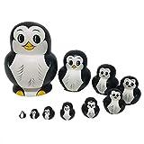 RAILONCH Pinguin Matroschka Form Russische Puppe Geschenk Cartoon Holzspielzeug Handwerk Geschenk...
