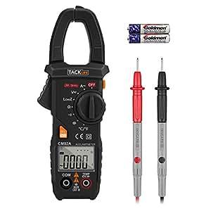 Tacklife CM02A Pinza Amperometrica Digitale Professionale True RMS & 6000 Conteggio Multimetro Senza Contatto di Tensione Display Retroilluminato Corrente AC, Tensione AC / DC Misuratore di Capacità Resistenza e Temperatura °C o °F