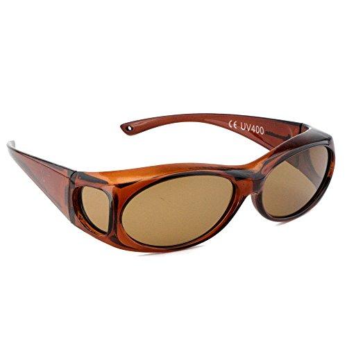 Rapid Eyewear SUR LUNETTES DE SOLEIL POLARISEES Femmes, taille moyen-large, écaille, pour mettre par-dessus les lunettes habituelles pour la conduite, etc. UV400 Protection