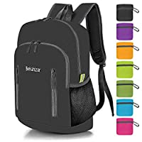 Bekahizar 20L Ultra Lightweight Backpack Foldable Hiking Daypack Rucksack Water Resistant Travel Day Bag for Men Women Kids Outdoor Camping Mountaineering Walking Cycling Climbing (Black)