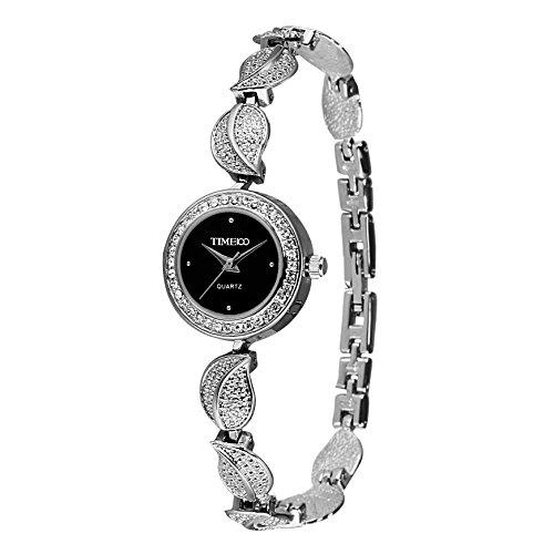 Time100 dicono le donne s Fashion Unique-Orologio con diamanti, placcato in oro, a forma di foglia in lega Cystal Bracciale Orologio da polso da donna, al quarzo, #W40121L.01A