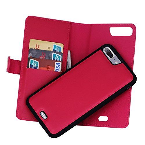 Meimeiwu Alta Qualità Slim Custodia in pelle - Flip Cover Leather Zipper Case Per iPhone 7 Plus - Rose Rosso Rose Rosso