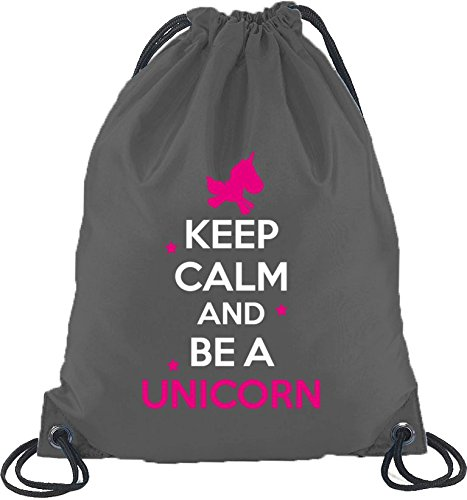 Keep-Calm-And-Be-A-Unicorn-Einhorn-Turnbeutel-Rucksack-Sport-Beutel-Gre-onesizeDunkelgrau