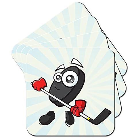 Sporticon Eishockey Puck Schlittschuhe Set aus 4 Untersetzern