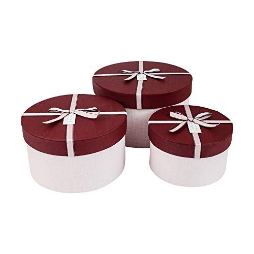 Emartbuy Set von 3 Starrer Luxus Runden Präsentation Geschenkbox, Hellrosa Box mit Strukturiertem Burgundy Deckel, Punktmuster Innenraum und Rosa Dekoratives Schleife Runde Box