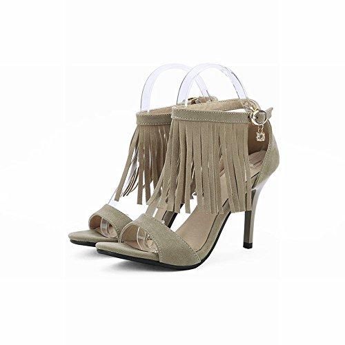 Mee Shoes Damen modern reizvoll elegant Schnalle Strass open toe Knöchelriemchen ankle strap mit Quaste Stiletto Sandalen Khaki
