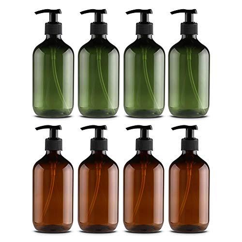Chirsemey Kosmetikflaschen Leerer Kunststoff 4 STÜCKE Kosmetikbehälter Robust Haltbar Umweltfreundlich Geschmacklos Shampoo Duschgel Reiseplastik Abfüllung, 500 Ml -