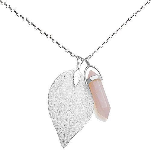 Injoy Jewelry Synthetischer Rosenquarz Edelstein Halskette Crystal Healing Spitzen Blatt Anhaenger Halskette mit Silber vergoldet Kette