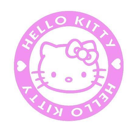 (SUPERSTICKI® Hello Kitty Aufkleber Decal Hintergrund/Maße in inch Vinyl Sticker|Cars Trucks Vans Walls Laptop| Pink |5 x 5 in|CCI1329)